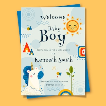 Baby shower card for boy illustrated