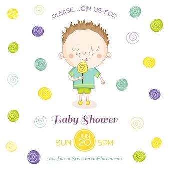 Baby shower card мальчик с конфетой