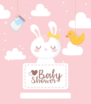 Baby shower card, bunny duck milk bottle clouds decoration