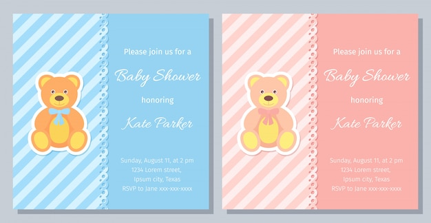 Baby shower card design. illustration. birthday template invite.