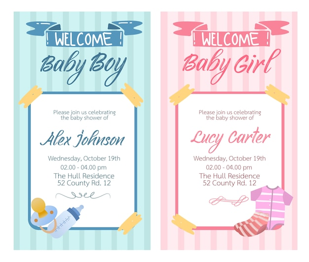 Baby shower card design vector for baby girl and baby boy collection set.