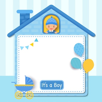 Дизайн карты baby shower с маленьким мальчиком на раме милого дома, украшенной воздушными шарами Premium векторы