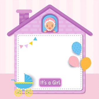 Baby shower card design with little girl on cute house frame decorated with balloons for party