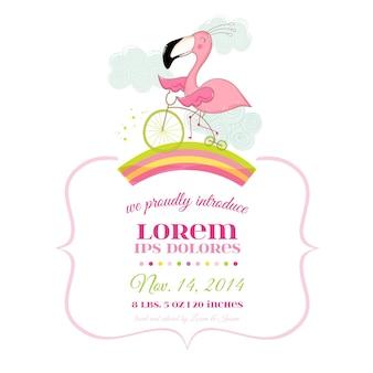 Baby shower card flamingo girl on a bike