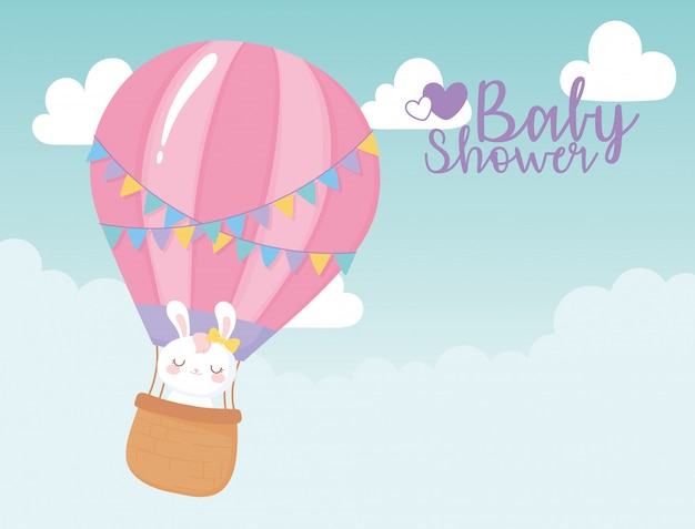 Baby shower card, flying air balloon with cute bunny, welcome newborn celebration card