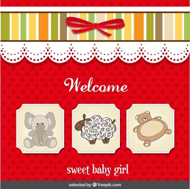 달콤한 아기 소녀를위한 베이비 샤워 카드