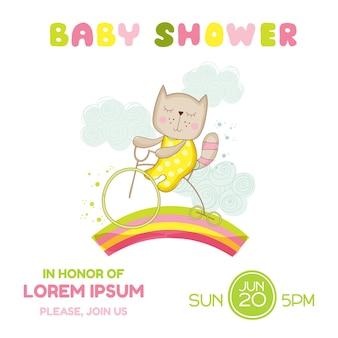 Baby shower card girl cat on a bike