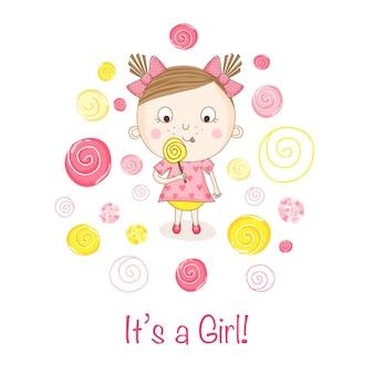 Baby shower card девушка с конфетой