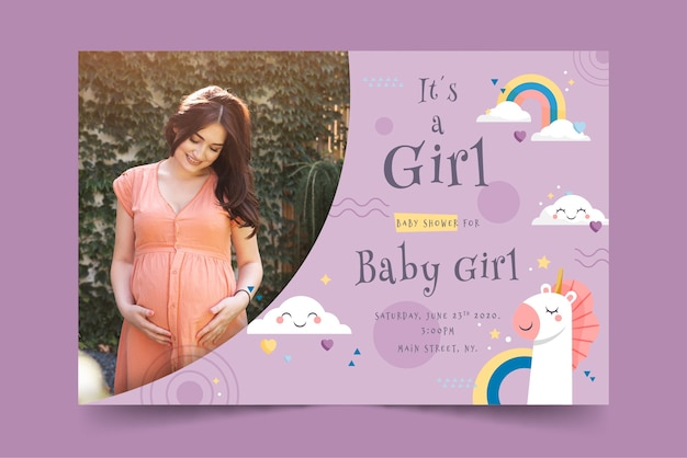 Baby shower card for girl with photo