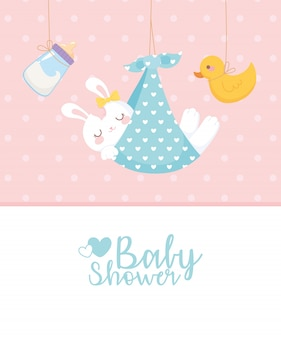 Baby shower card, hanging rabbit duck and milk bottle, welcome newborn celebration card