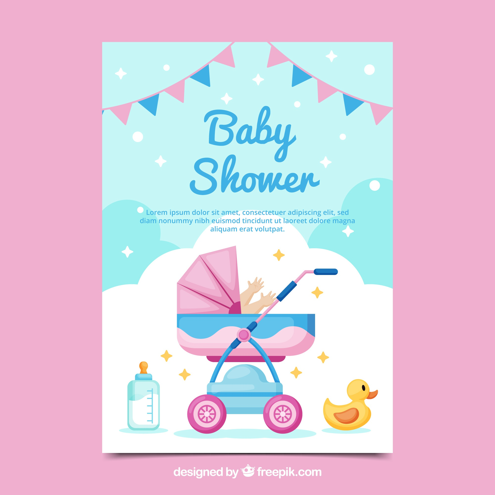 Baby shower card invitation in flat style