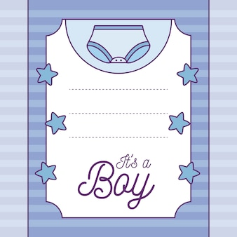 Baby shower card it is a boy with diaper