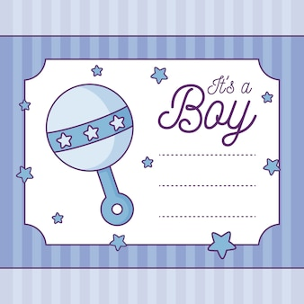 Baby shower card it is a boy with rattle