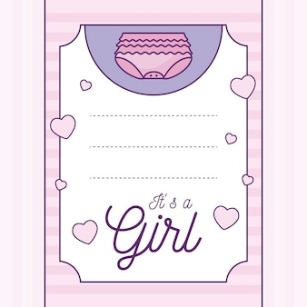 Baby shower card it is a girl with diaper