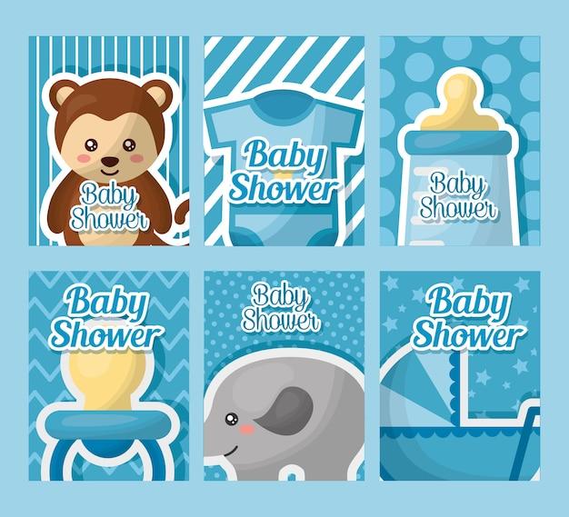ベビーシャワーカードのラベル少年生まれの象のクマのおしゃぶりボトルミルクベイビーキャレージ