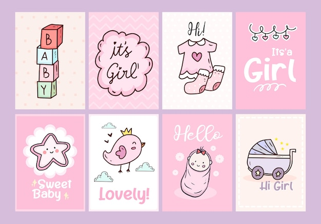 Baby shower card poster with pink and cute newborn girl