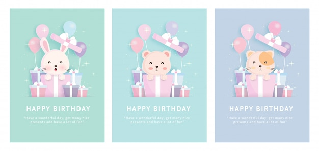 Baby shower card , set of birthday greeting template cards   with rabbit , cat and bear standing in gift boxes in paper cut style.