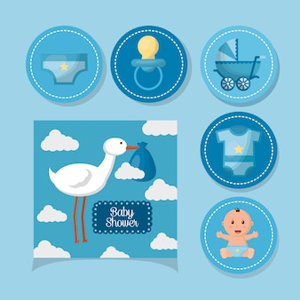 Baby shower card sticker stork with babe pacifier carriege smiling boy