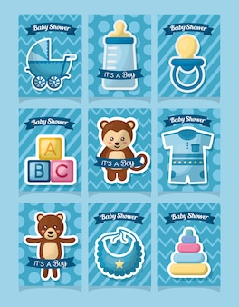 Baby shower card stickers animals toys clothes boy born day celebration