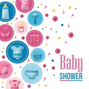 Baby shower card stickers clothes toys flowers background celebration