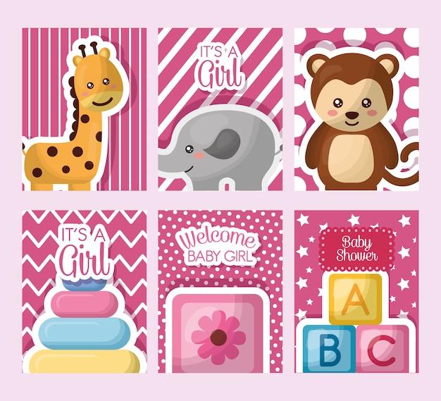 Baby shower card stickers toys giraffe elephant monkey cube flowers girl day