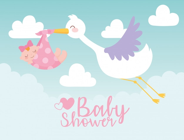 Baby shower card, stork carrying little girl in blanket, welcome newborn celebration card