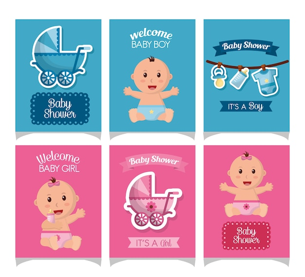 Baby shower card strickers smiling girls boys babe carriege borns