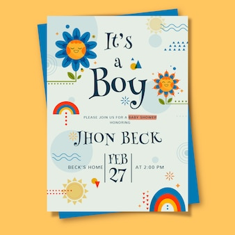 Baby shower card template for boy illustrated