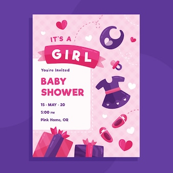 Baby shower card template for girl illustrated