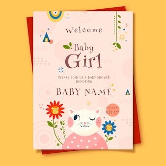 Baby shower card template for girl