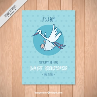 Baby shower card template with a stork