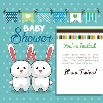 Baby shower card twins rabbit design