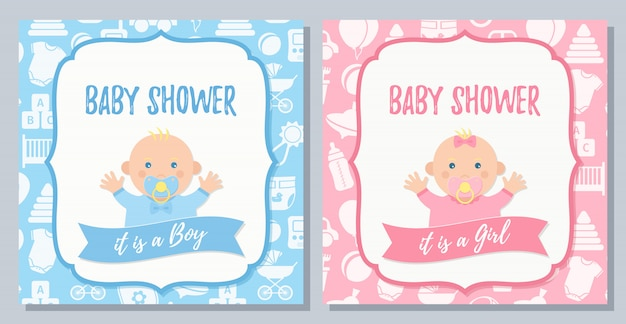 Baby shower card. vector. baby boy, girl invite design. cartoon flat illustration.