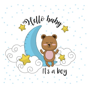 Baby shower card to welcome a boy