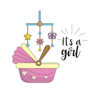 Baby shower card to welcome a girl