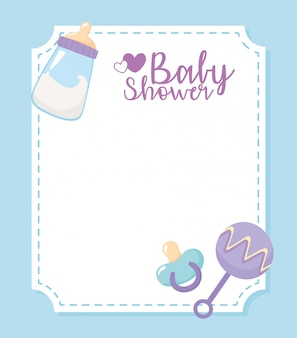 Baby shower card, welcome newborn celebration card milk bottle pacifier and rattle