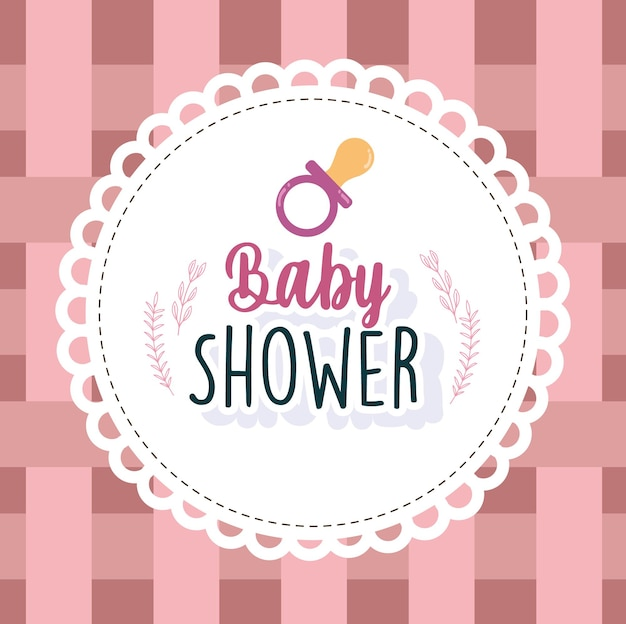 Baby shower card welcome newborn pacifier round frame vector illustration