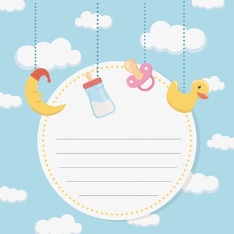 Baby shower card with accessories hanging