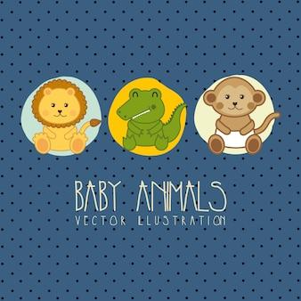 赤ちゃんの動物のベクトル図とベビーシャワーカード