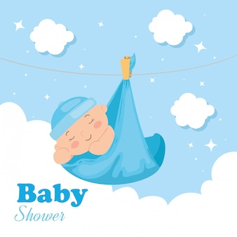 Baby shower card with baby boy and decoration