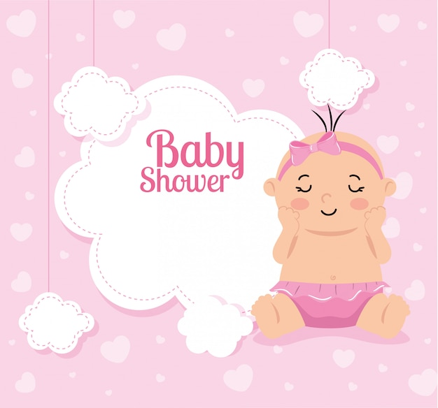 Baby shower card with baby girl and decoration