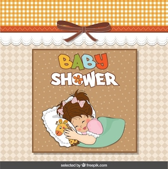 Baby shower card with baby hugging teddy