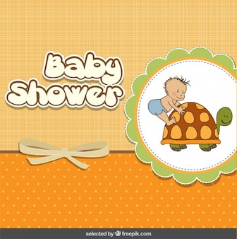Baby shower card with baby and tortoise