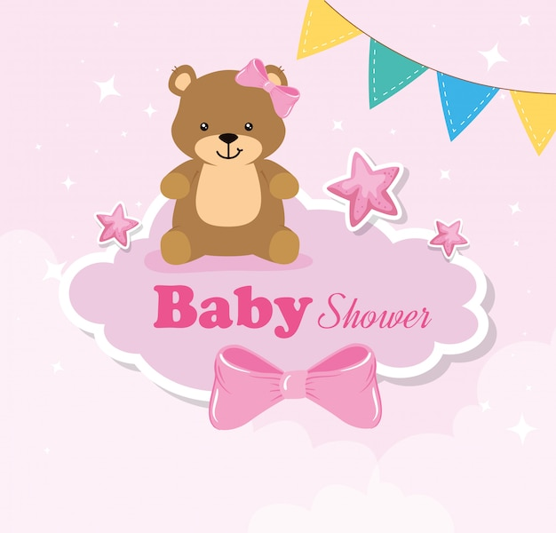 Baby shower card with bears female and elements