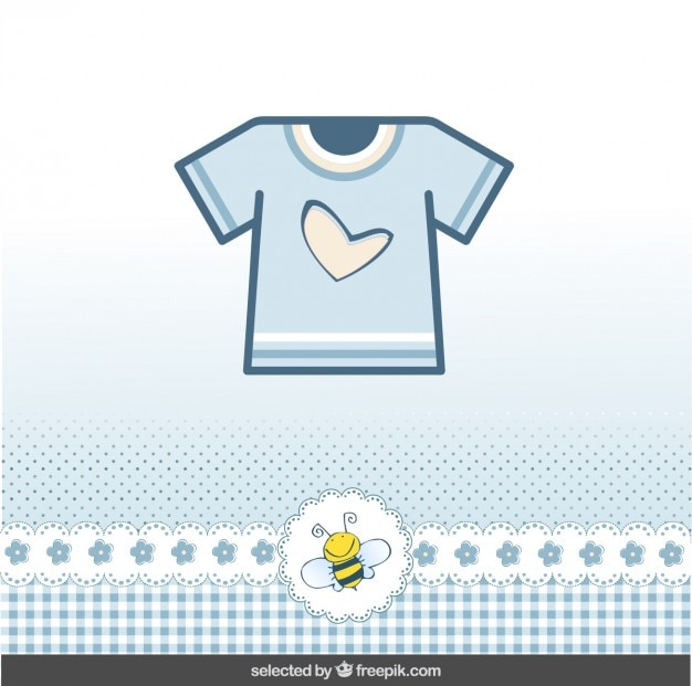 Baby shower card with blue t-shirt