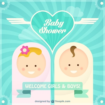 Baby shower card with boy and girl faces