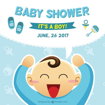 Baby shower card with a boy illustration