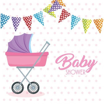 Baby shower card with cart