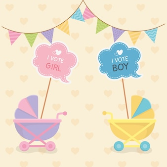 Baby shower card with carts