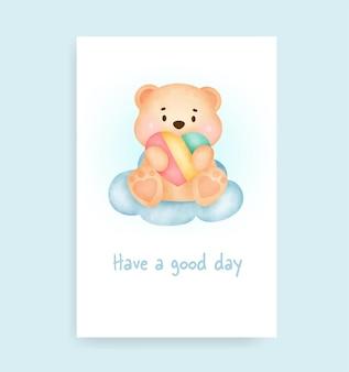 かわいいクマと虹のベビーシャワーカード
